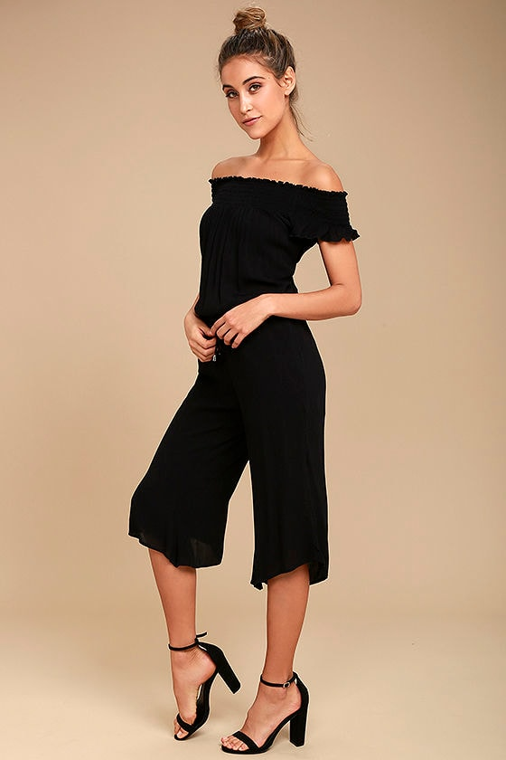 Jack by BB Dakota Otisa Black Off-the-Shoulder Midi Jumpsuit 1