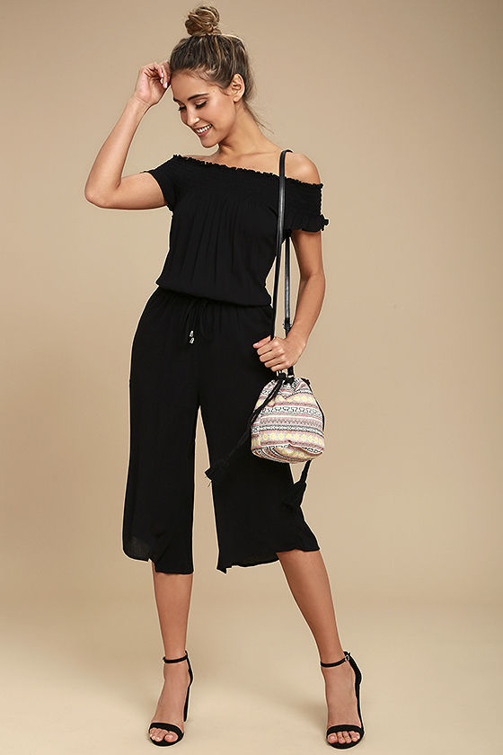 Jack by BB Dakota Otisa Black Off-the-Shoulder Midi Jumpsuit 2