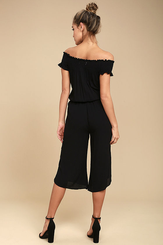 Jack by BB Dakota Otisa Black Off-the-Shoulder Midi Jumpsuit 3