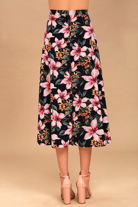 dreamy navy blue floral print skirt high low print skirt