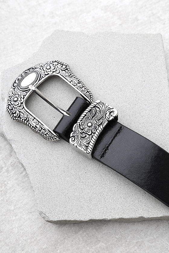 Oasis Flower Silver and Black Double Buckle Belt 2