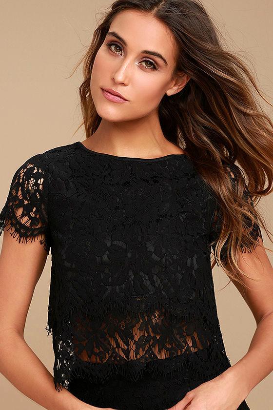 Heartbeats Black Lace Crop Top 1