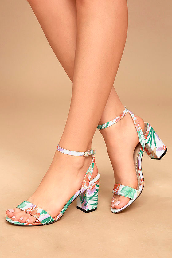 Chilali Nude Print Ankle Strap Heels 2