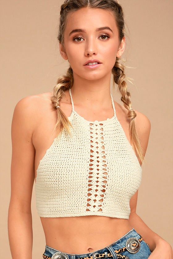 Cute Cream Top Crop Top Crochet Top Crochet Halter Top 3400