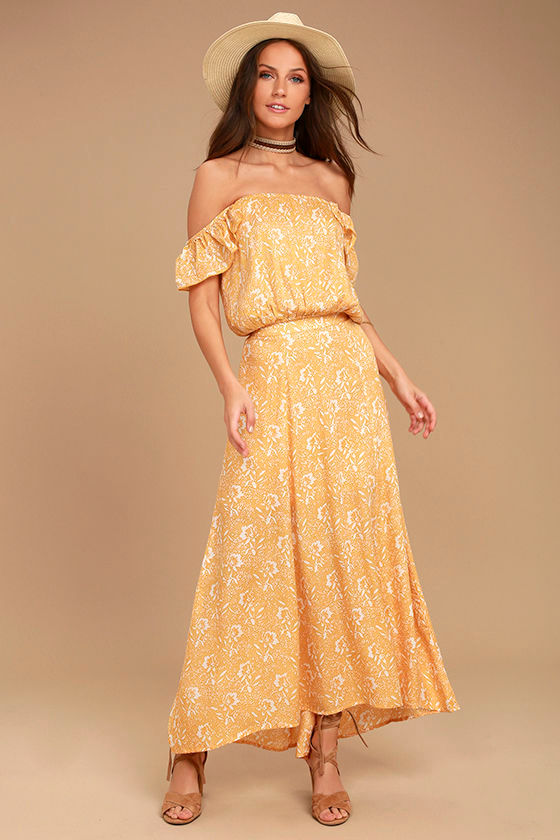 Amuse Society Shiva Yellow Floral Print Maxi Skirt 1
