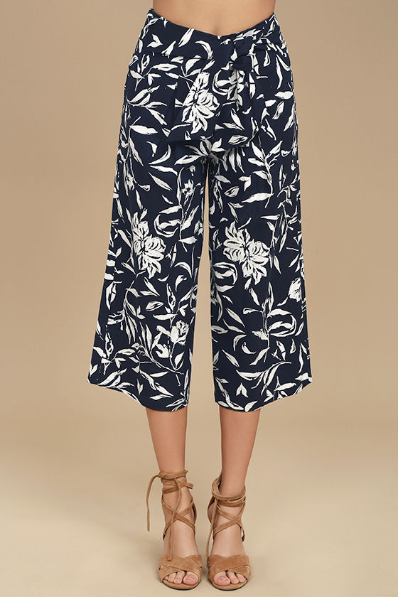 J.O.A. Maylee Navy Blue Floral Print Culottes 2