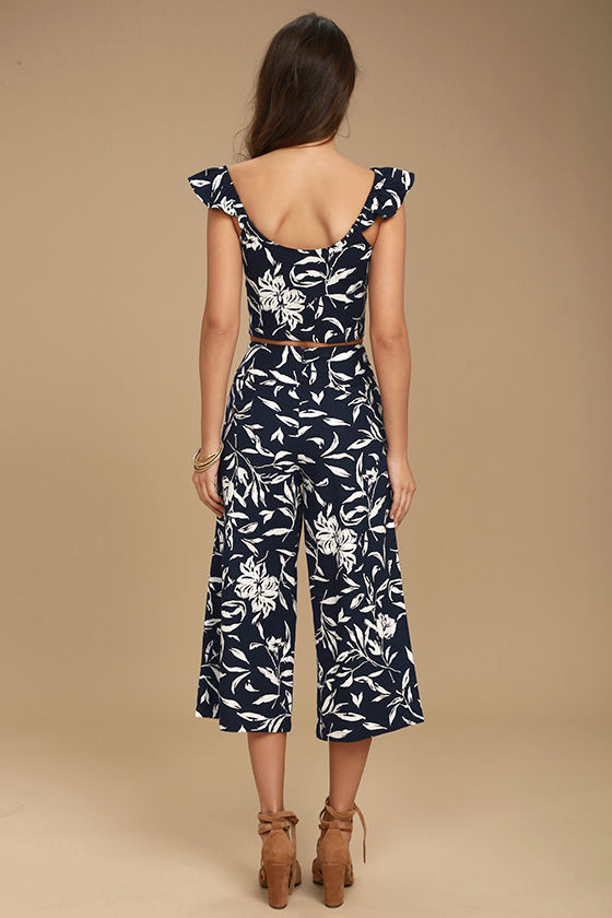 J.O.A. Maylee Navy Blue Floral Print Culottes 3