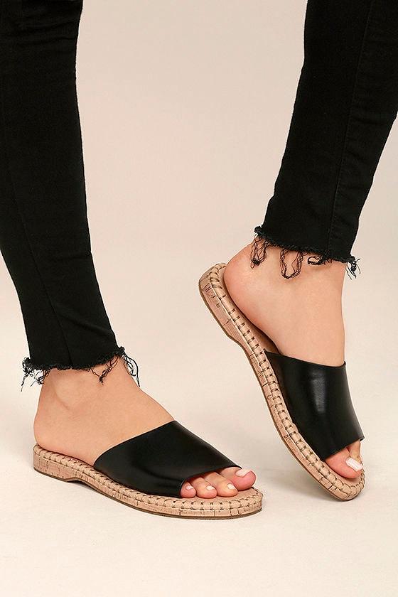 7c7d26ca8cd063 Report Farrel - Black Slide Sandals - Cork Slides - Black Sandals ...