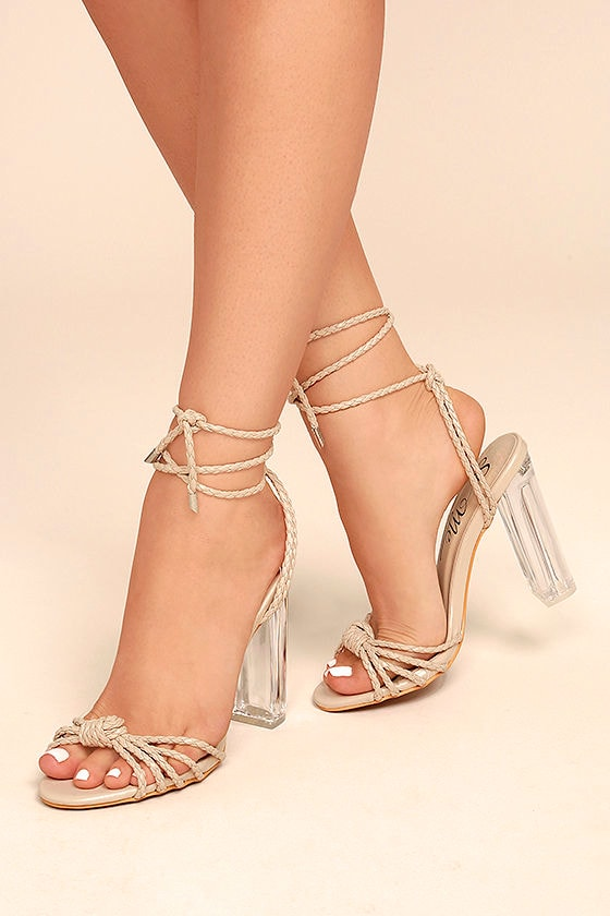 Lovely Nude Heels Lucite Heels Lace Up Lucite Heels
