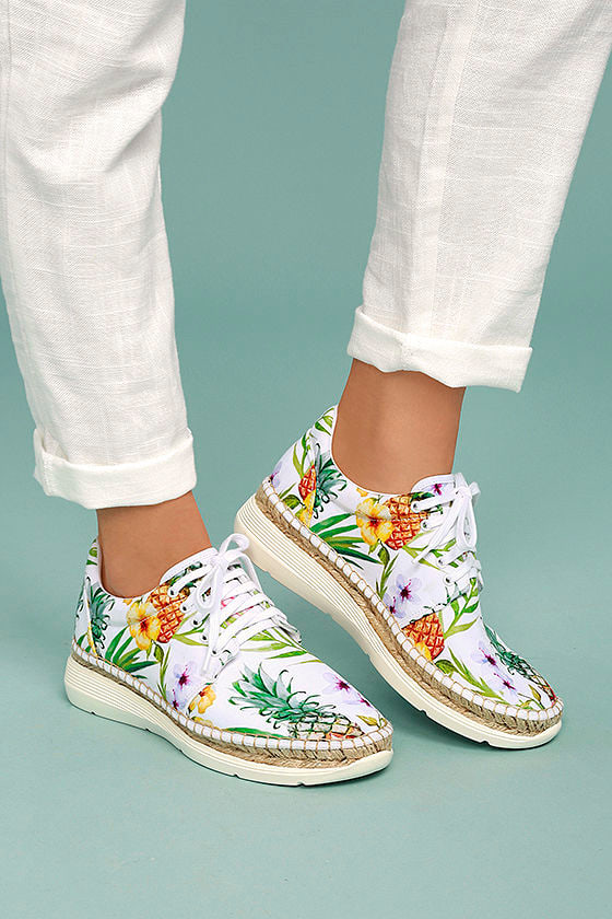 Free People Jackson White Tropical Print Espadrille Sneakers 2