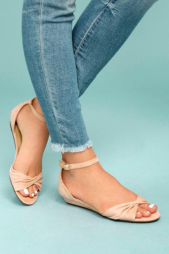 Maryanna Blush Suede Wedge Sandals 2