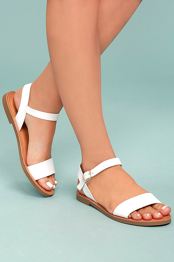 aeeee89fdf845 Cute White Sandals - Vegan Leather Sandals - Flat Sandals -  21.00