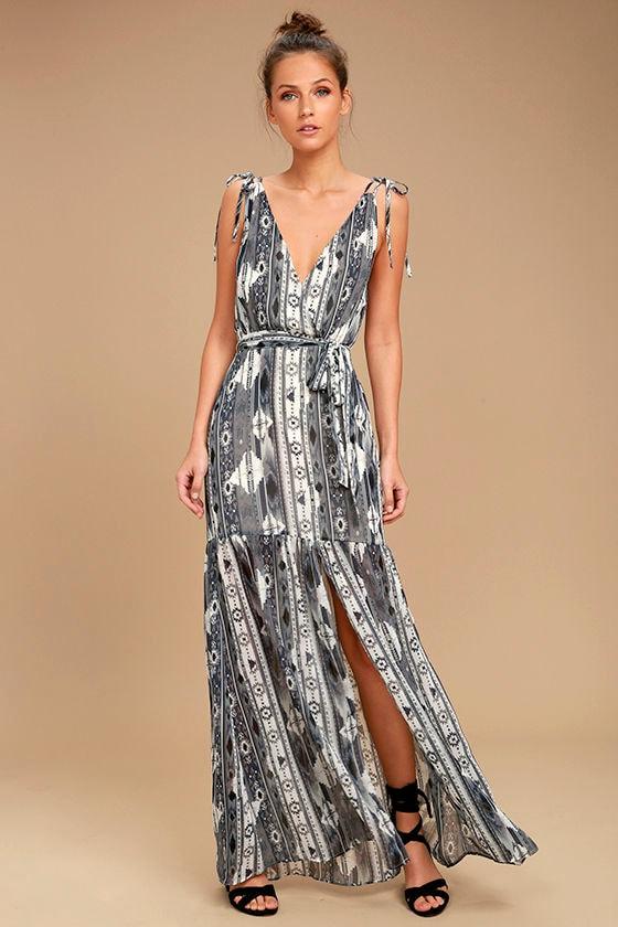 Mystical Moment Grey Print Maxi Dress 1