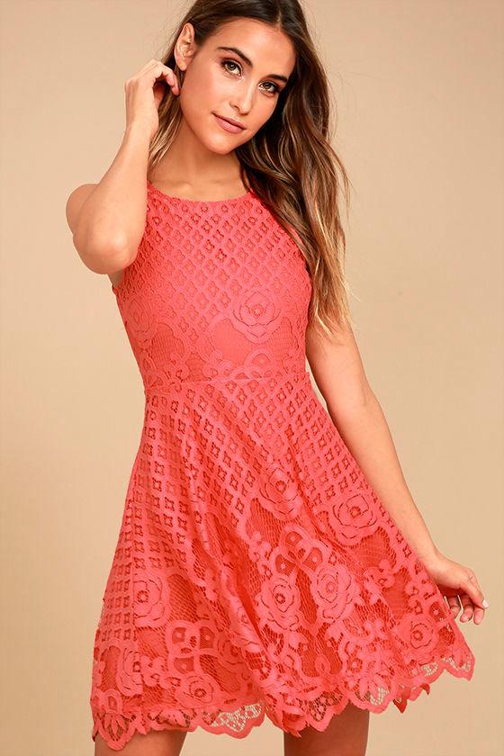 5443b96424a1 Black Swan Desirae Dress - Coral Pink Dress - Lace Dress - Skater Dress -  $83.00