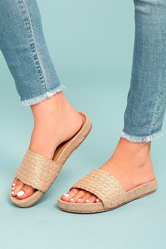 a010957d1 Mia Linara Sandals - Natural Slide Sandals - Jute Slide Sandals -  55.00