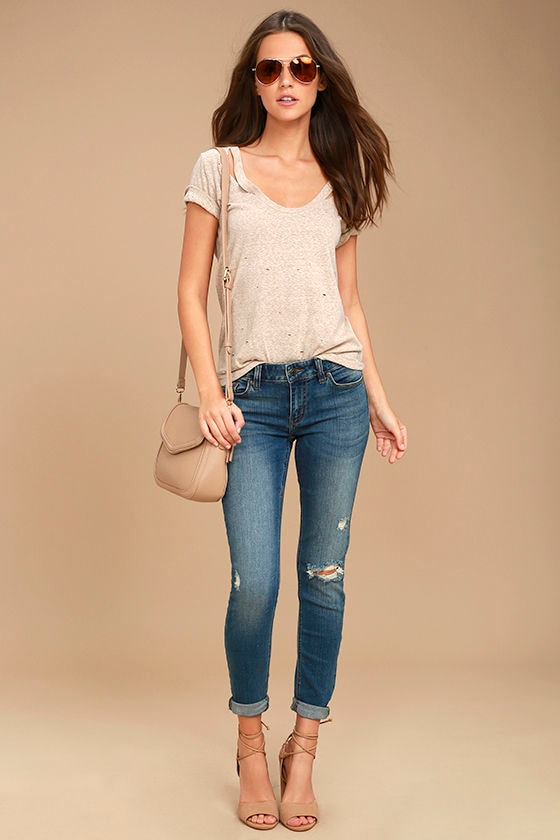 Something to Talk About Medium Wash Distressed Skinny Jeans 1