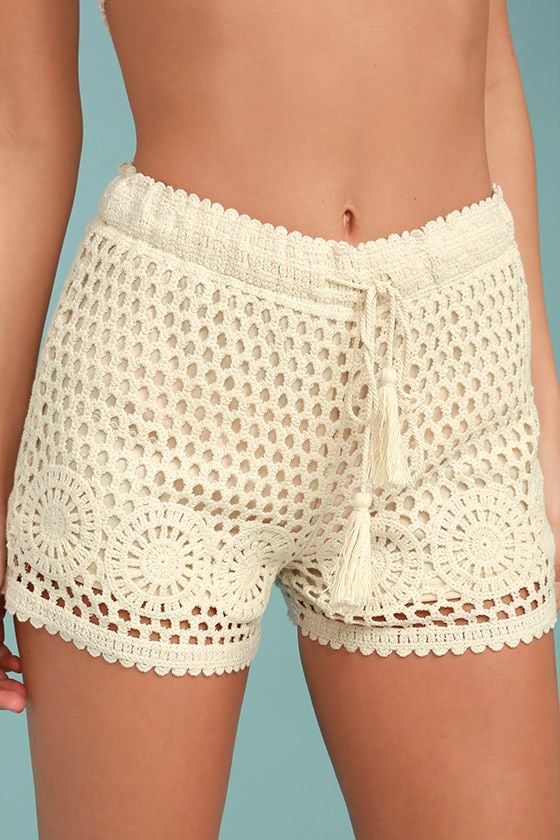 Lasting Friendship Cream Crochet Lace Shorts 1