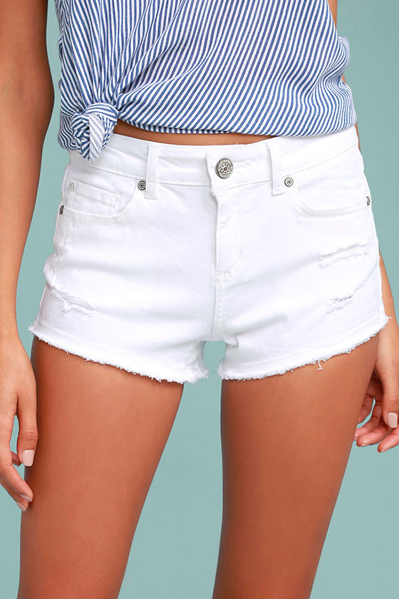 My Mini White Distressed Denim Shorts 1