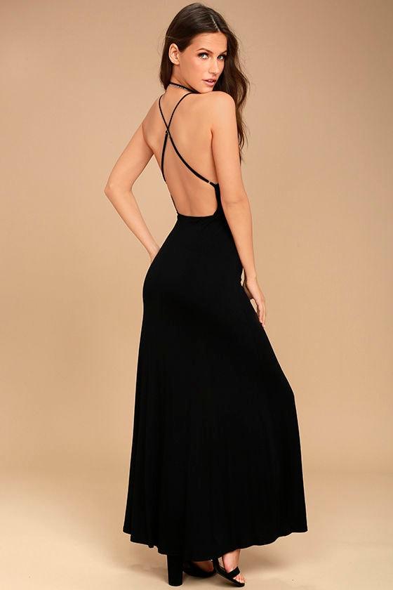 cb8482d7065 Desert Skies Black Backless Maxi Dress