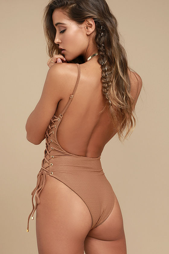 Blue Life Roped Up Brown Lace-Up One Piece Swimsuit 3