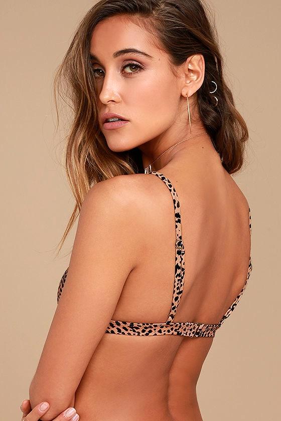 Amuse Society Lynna Brown Leopard Print Bikini Top 3
