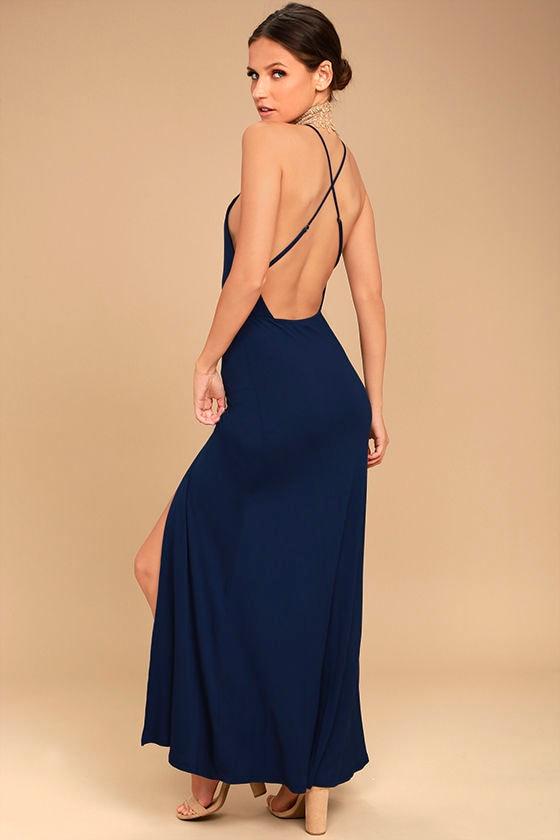 Desert Skies Navy Blue Backless Maxi Dress 1