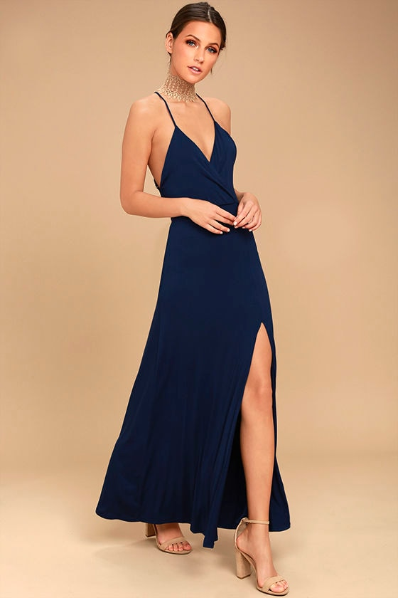 Desert Skies Navy Blue Backless Maxi Dress 2
