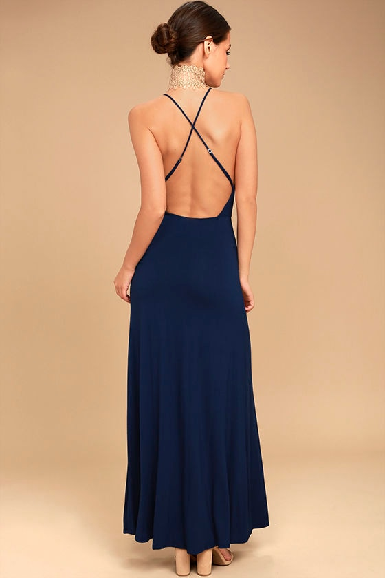 Desert Skies Navy Blue Backless Maxi Dress 4