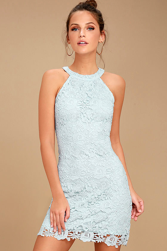 Lace Dress - Light Blue Dress - Sleeveless Dress - $64.00