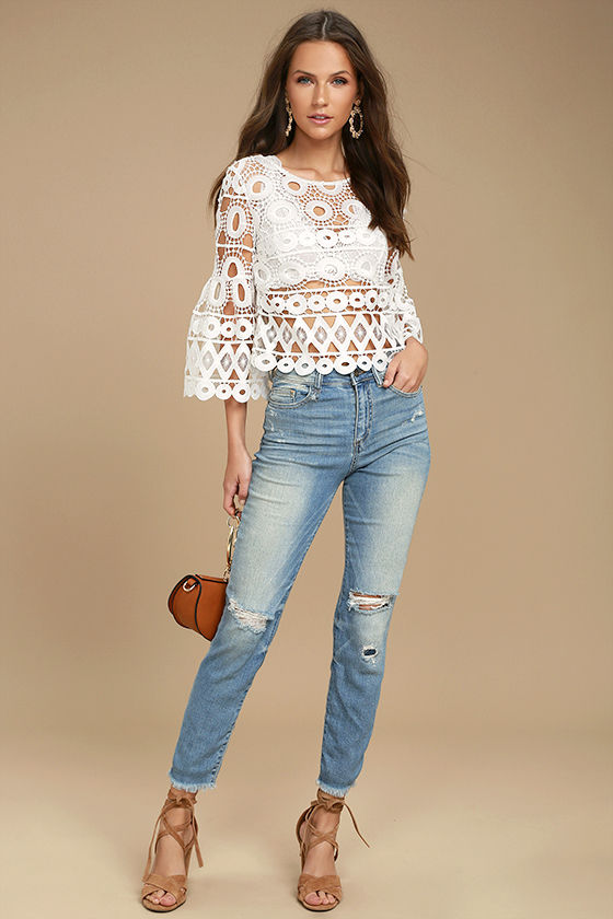 Glory Days Light Wash High-Waisted Distressed Jeans 1