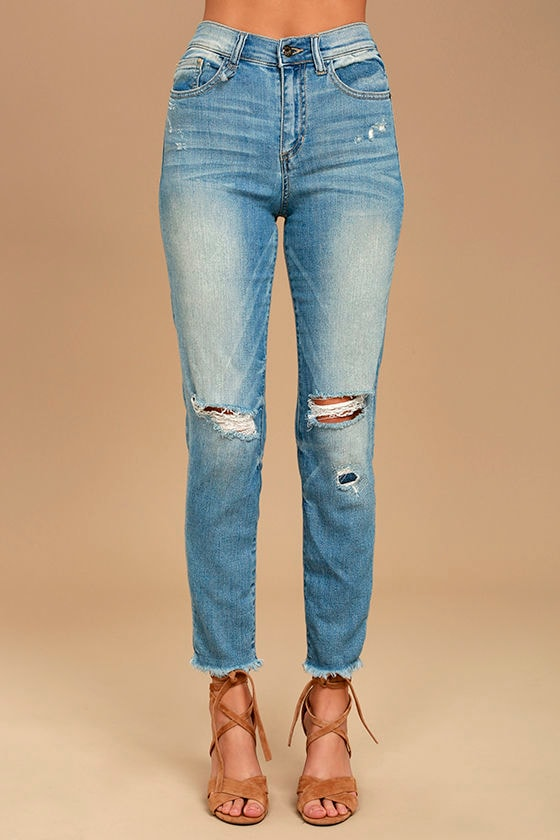 02189ee5d51 Classic Light Wash Jeans - High-Waisted Jeans - Distressed Jeans -  54.00