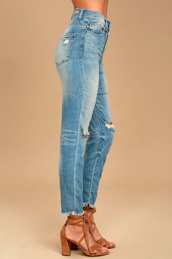 Classic Light Wash Jeans - High-Waisted Jeans - Distressed Jeans ...