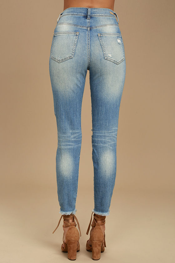 Glory Days Light Wash High-Waisted Distressed Jeans 4