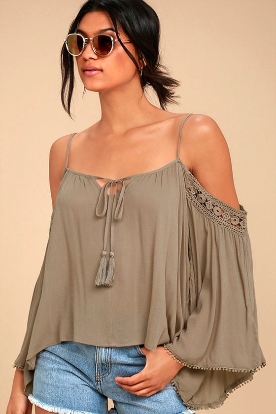 I Feel It Brown Lace Off-the-Shoulder Top 1