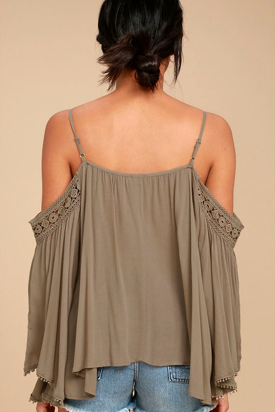 I Feel It Brown Lace Off-the-Shoulder Top 3
