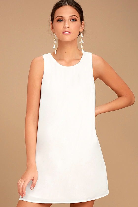 Lovely White Dress White Shift Dress Sleeveless Shift