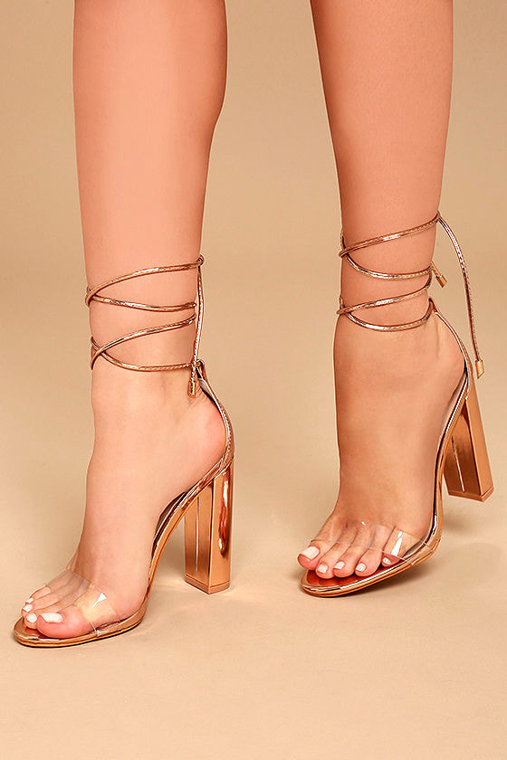 Chic Rose Gold Heels Rose Gold And Lucite Heels Lace