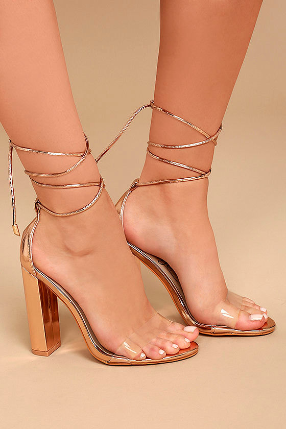 Maricela Rose Gold Patent Lace-Up Heels 3