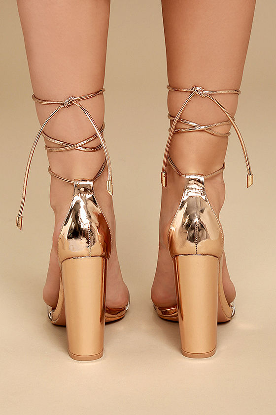 Maricela Rose Gold Patent Lace-Up Heels 4