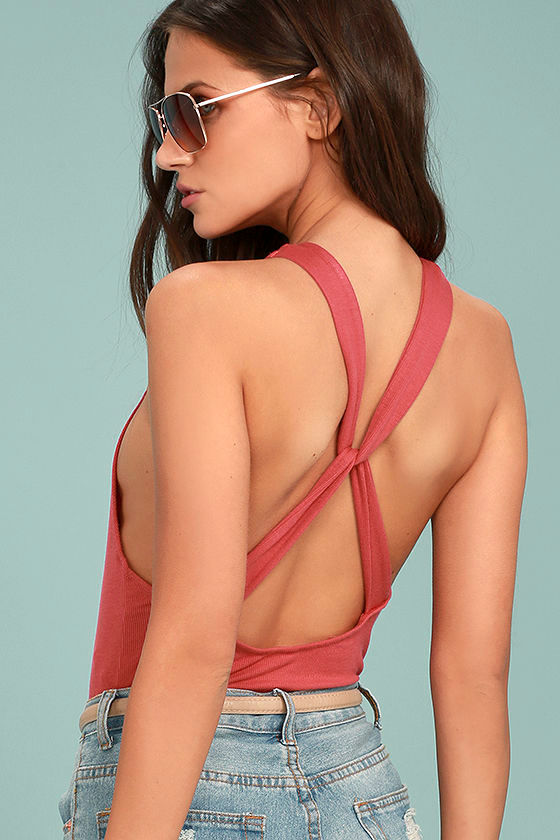 Free People Up and Around Rusty Rose Bodysuit 1