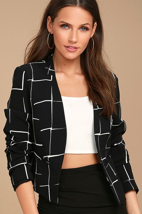 Born to Lead Black and White Grid Print Cropped Blazer 1