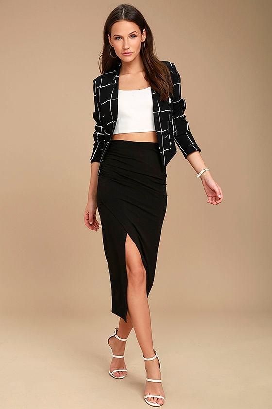 d345d4806 Chic Blazer - Black and White Print Blazer - Cropped Blazer - Grid ...