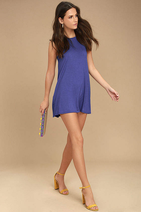 There She Goes Royal Blue Backless Swing Dress 2