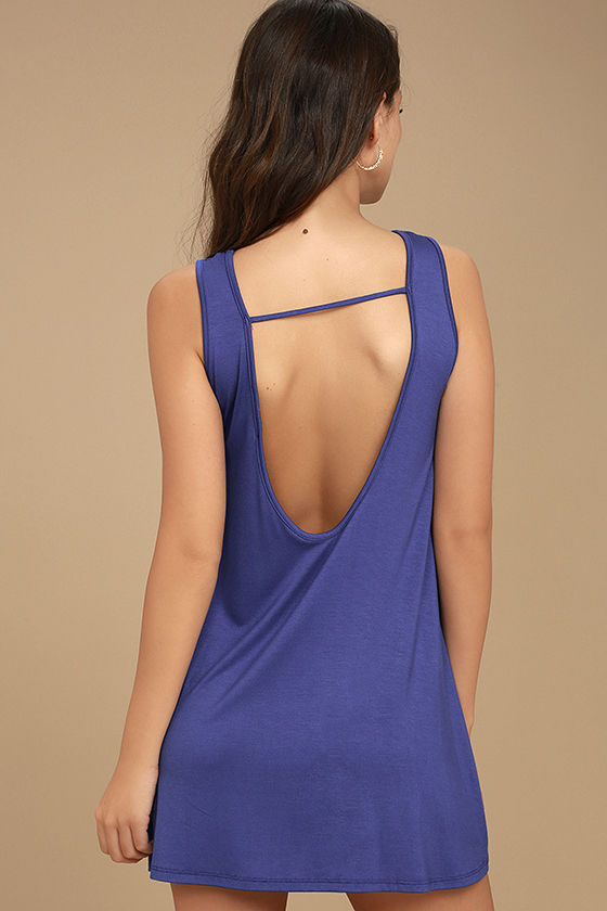 There She Goes Royal Blue Backless Swing Dress 4