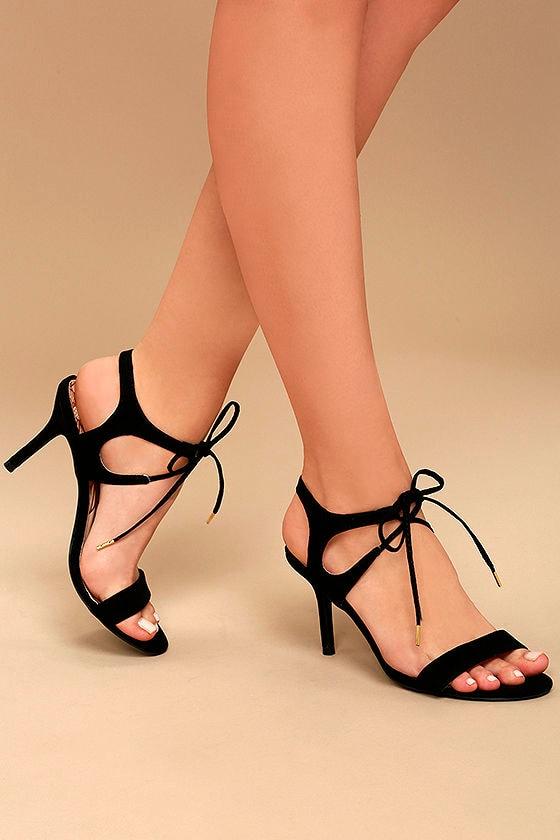 Reception Black Suede Lace-Up Heels 1