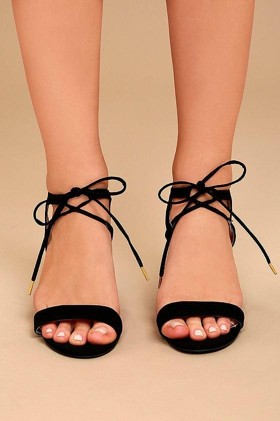 Reception Black Suede Lace-Up Heels 2