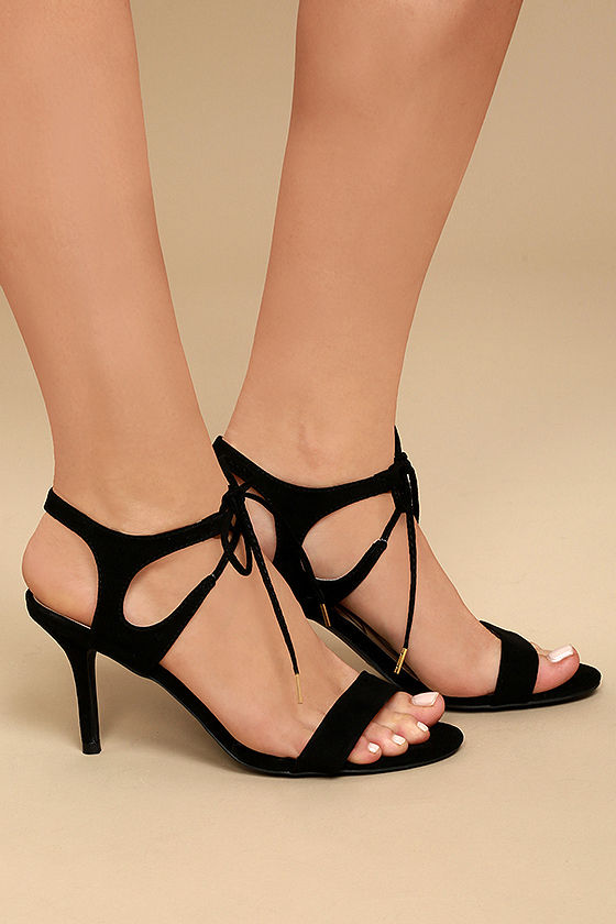 Reception Black Suede Lace-Up Heels 3
