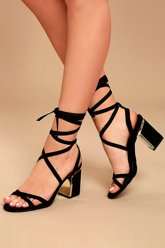 Ailsa Black Suede Lace-Up Heels 1