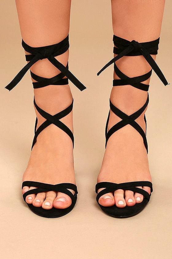 Ailsa Black Suede Lace-Up Heels 2