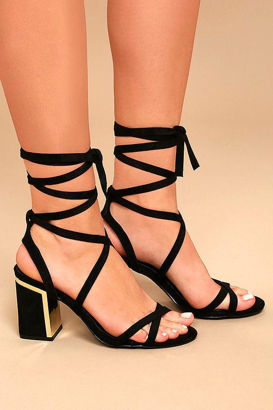 Ailsa Black Suede Lace-Up Heels 3